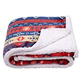 SOCHOW Bohemian Sherpa Fleece Throw Blanket, Fuzzy Warm Super Soft Reversible Boho Stripe Plush Blanket for Bed, Sofa and Couch, 50 x 60 inches, Red