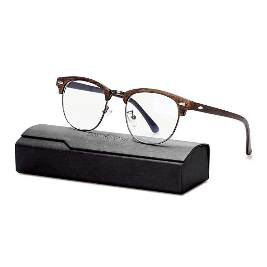 Gy Blue Light Blocking Glasses for Men, Lightweight Round Nerd Eyeglasses, Semi-Rimless Over Glasses Clear Lens, Blue Ray Glasses Women, Computer Gaming Glass uv Protection (Brown Frame)