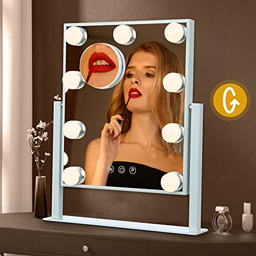 Lighted Makeup Mirror, Tomshine Hollywood Vanity Mirror Smart Touch Control 3 Colors Modes Dimmable, 360° Rotation Removable 10X Magnification (White)