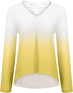 Women Gradual Colour Shirt Tops ❀ Ladies V-neck Solid Fashion Long Sleeve T-shirt Blouse Tunic Tops