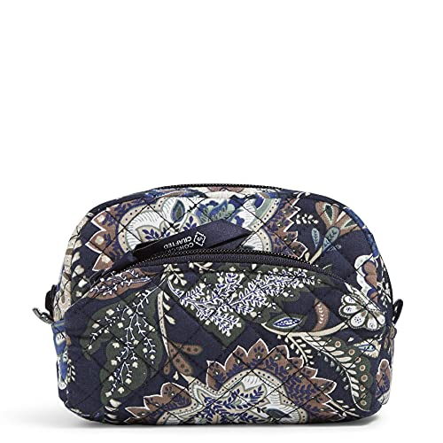 Vera Bradley Mini Cosmetic Makeup Organizer Bag, Java Navy Camo-Recycled Cotton