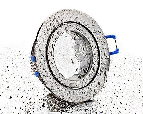 LC-Light IP44 Nassraum Badezimmer Installationsrahmen Patio Baldachin Licht gebürstetes Eisen mit Schnappverschluss Spritzwassergeschützter Aluminium-Einbaurahmen Geeignet