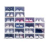 20x caja de almacenamiento caja de zapatos caja de zapatos caja de zapatos transparente cajón de plástico plegable gabinete de almacenamiento apilable