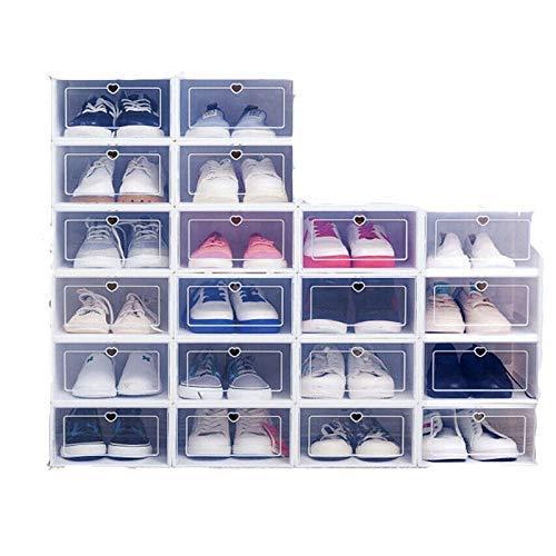 DIFU 20x scatola di immagazzinaggio scatola di scarpe scatola di scarpe scatola di scarpe trasparente cassetto di plastica pieghevole mobile impilabile