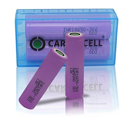 2er Box SAM Sung INR-18650 30Q + CardioCell Box -High Tec Taschenlampe Dampfer E-Zig-