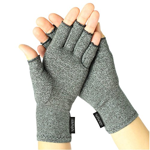 Vive Arthritis Gloves - Compression Glove for Rheumatoid, Osteoarthritis - Heat Hand Gloves for Computer Typing, Arthritic Joint Pain Relief, Carpal Tunnel - Men, Women - Open Finger Thumb (Medium)