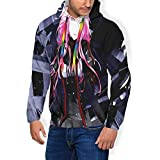 Guilty Crown ManFleece Padded Hooded Jacket Casual Animation Graphics SweatshirtBlack Medium