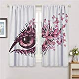 GUUVOR Butterflies All Season Insulation Fairy Female Eye with Butterflies Eyelashes Mascara Stare Party Makeup Noise Reduction Curtain Panel Living Room W54 x L63 Inch Pale Pink Purple