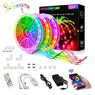 100FT/30M LED Strip Lights,5050 RGB Led Light Strip with Bluetooth Remote App Controller Color Changing Colorfull LED Rope Lights Strip Sync to Music for Bedroom, Party, Bar, Home, Kitchen, Christmas
