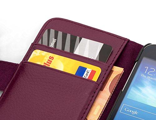 Cadorabo Hülle für Huawei Ascend Y330 - Hülle in Bordeaux LILA – Handyhülle mit Kartenfach aus struktriertem Kunstleder - Case Cover Schutzhülle Etui Tasche Book Klapp Style - 2