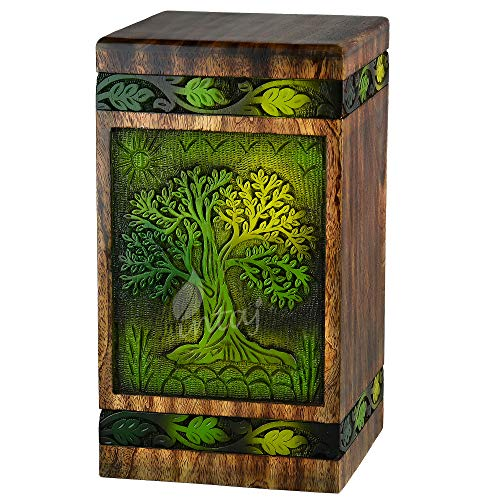 INTAJ Handmade Rosewood Urn for Human Ashes | Tree of Life Wooden Urns Hand-Crafted - Funeral Cremation Urn for Ashes (Green Blaze, Adult 250 Cu/in)