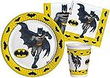 Ciao- Kit Party Tavola Batman Carta FSC compostabile per 8 (50 pz: 8 Piatti Ø23cm, 12 Bicchieri, 30 tovaglioli), Multicolore, 8 Persone, Y6164