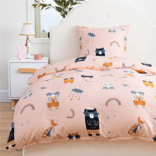 Bedsure Housse Couette Enfant 140x200cm - Parure de Lit 1 Personne Ours, 2 Pièces Parure Housse Couette avec Femeture Éclaire et Taie d'oreiller 63x63 cm