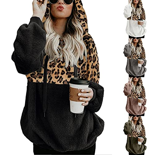 Hoodie Mujer Capucha Suéter Cremallera Media Sudadera de Lana Sudadera con Estampado de Leopardo Costuras Graphic Hoodies Cordón Ajustable Abrigos Mujer Rebajas Invierno 5 Color Tallas Grandes S-5xl