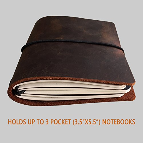Field Notes Cover - Dotted Leather Journal 3.5 x 5.5 Travelers Notebook (64 Pages | Pocket Size | Refillable | Dark Brown) Photo #8