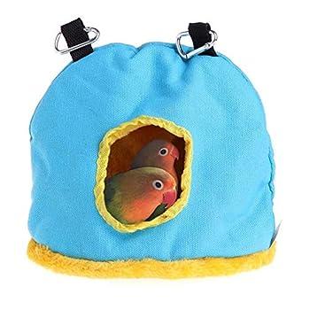 Yagoal Cage Oiseau Furet Animal Parrot Hamac Pet Cage Hamac Cabane pour Perroquet, Perruches, Perruche, Calopsittes Oiseau Hamac Chaud Nid D'oiseau Blue,m