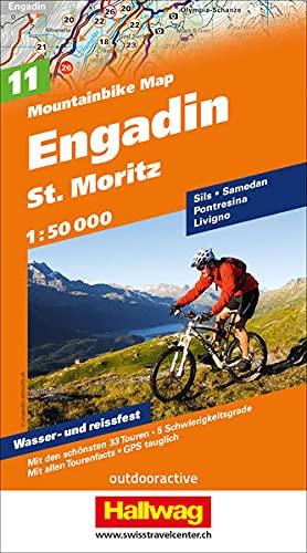 MTB-Karte 11 Engadin - St. Moritz 1:50.000: Mountainbike Map: Mit den schönsten 33 Touren, 5 Schwierigkeitsgrade, mit allen Tourenfacts, GPS tauglich (Hallwag Mountainbike-Karten)