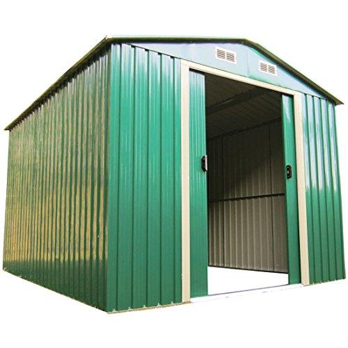 ASS Gartenhaus Geräteschuppen Verschiedene Größen aus verzinktem Stahlblech Metall grün, Größe:8m²