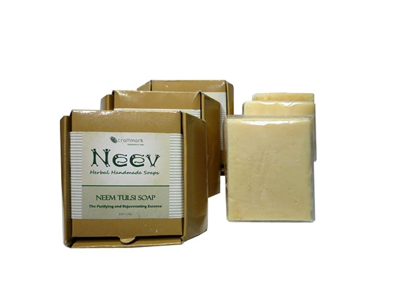 持続する残基質量手作り ニーブ ニーム トゥルシ ソープ 3個セット NEEV Herbal NEEM TULSI SOAP 3SET