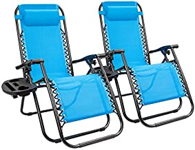 Kemon Zero Gravity Folding Lounge Outdoor Patio Adjustable Reclining Chair with Pillows and Cup Holders for Beach Set of 2, Blue