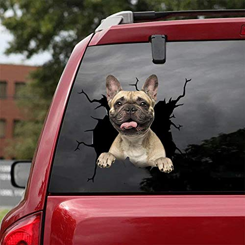 Ocean Gift French Bulldog Car Decals, Dog Car Stickers Pack of 2 - Realistic Frenchie Stickers for Car Windows, Walls Series 68 Size 8' x 8'
