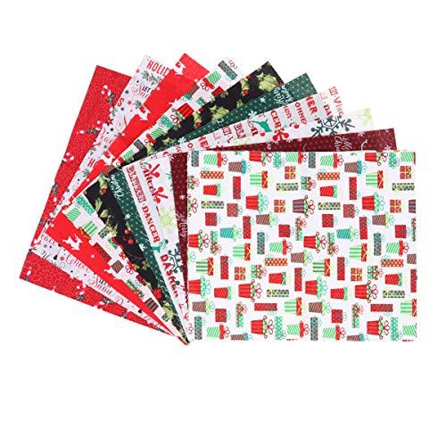 SUPVOX 10 Piezas de Tela de algodón navideña Cuadrados de Tela Acolchada Retazos de Tela precortados para Acolchado DIY para Manualidades de Costura de Navidad (7.8x9.8 Pulgadas)