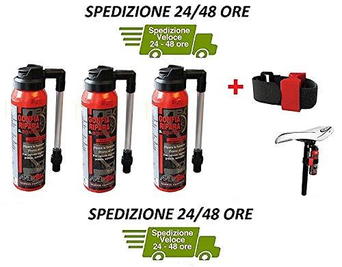 MVTEK Consegna 24 Ore - 3 x Fast CO2 (GONFIA E RIPARA) + Supporto Chiusura a Strappo per Bici Bicicletta MTB Mountain Bike/Strada - Corsa Consegna 24 Ore
