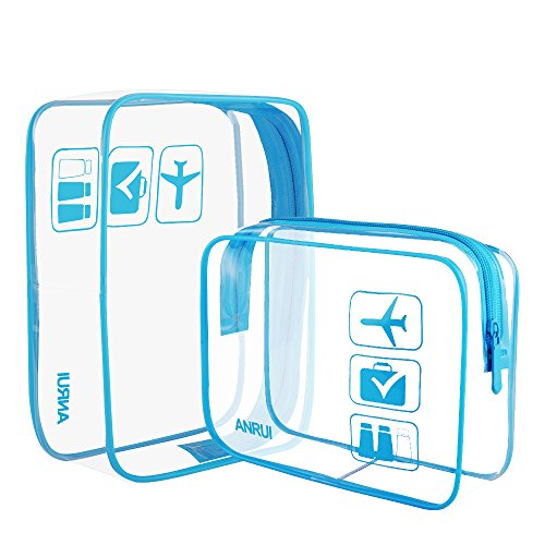 Anrui Clear Toiletry Bag TSA Approved Travel Airport Airline Compliant Bag Quart Sized 3-1-4 Kit Travel Pouch