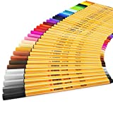 STABILO Point 88 Fineliner Pens - 0.4mm Fine Nib - Pack of 40 Assorted Colours