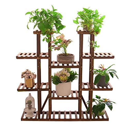 UNHO Estantería para Macetas 116 x 25 x 115cm Soporte de Madera para Plantas con 11 Estantes Estantería Decorativa de Flores para Jardín Exterior Interior