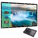 HENZIN Écran de Projection Portable 16:9 231x135cm Toile Blanc Vidéoprojecteur 3D HD en PVC Format Pliable pour Cinéma Maison, Intérieur ou Extérieur 100 Pouces