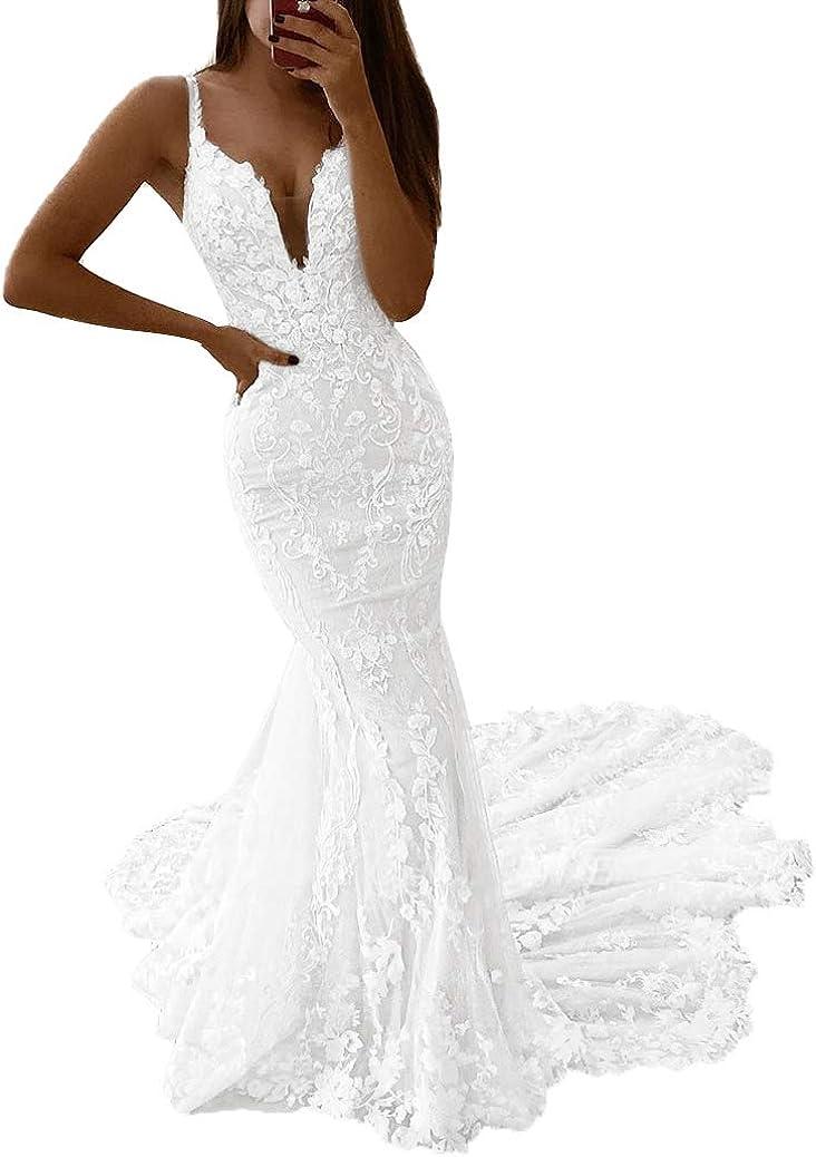 vannawong Damen Meerjungfrau Hochzeitskleid Abnehmbare /Überrockriemen V-Ausschnitt Schn/ürung R/ückenlose Zeremonie Brautkleid Mit Zug