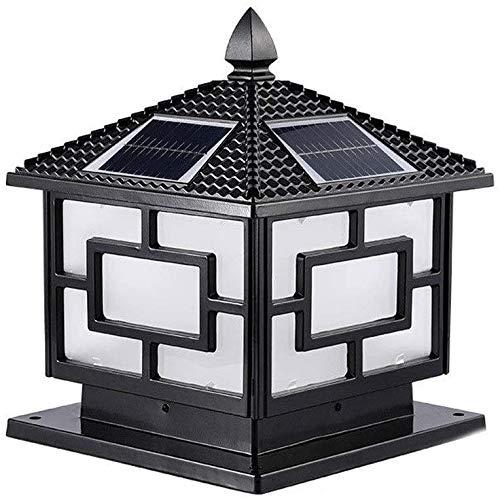 Raelf Solar-Gartenleuchten Wasserdicht IP 65 Glaslaterne, europäische Klassik RC im Freien LED-Solarsäule Laterne Beleuchtung Solar Laternenpfahl Licht, intelligente Lichtsteuerung Villa Garten-Tür, T