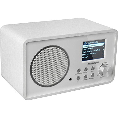 Medion Life E85052 MD 87267 Internetradio (2,4 Zoll Farb-Display, DLNA / UPnP, WLAN, AUX in, Line Out) weiß