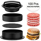 RunLimL 3 in 1 Burgerpresse Set - Burger Patty Presse für perfekte Burger, Patties oder Frikadellen, Robustes Grillzubehör, spülmaschinenfeste Hamburger Presse + 100 Patty Papers