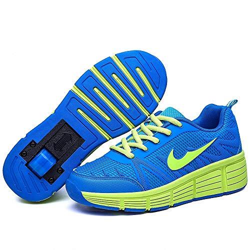 Miarui Sneakers mit Rollen Mädchen Junge Mode Rollenschuhe Unisex Skateboard Schuhe Rollen Schuhe Sportschuhe Laufschuhe mit Automatisch Verstellbares Räder Geeignet für Erwachsene und Kinder,Blau,36
