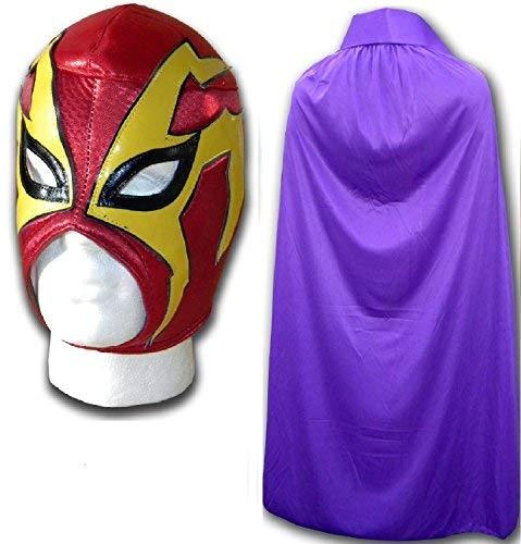 Wrestling Masks UK Men's Shocker Fancy Dress Luchador Mask with Cape One Size Red/Purple