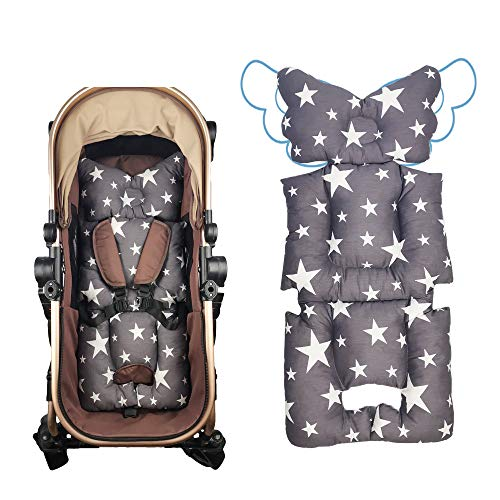 Stroller Liner Insert Car Seat Liner Cover, Infant Reversible Cotton Newborn Cushion pad Universal for Baby Carrier pram, Thick Padding, Non Slip, by DODO NICI Grey Star