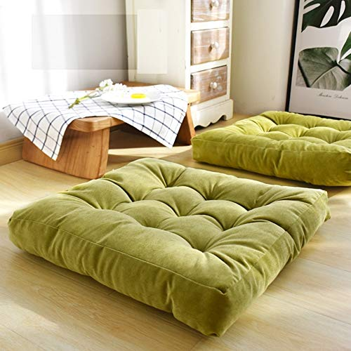 HIGOGOGO Solid Square Seat Cushion, Tufted Thicken Pillow Seat Soft Corduroy Chair Pad Tatami Floor Cushion for Yoga Meditation Living Room Balcony, Green, 22x22 Inch