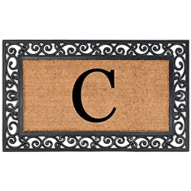 Nance Industries Heavy Duty Monogrammed Natural Coir Rubber In Lay Welcome Mat, Letter C, 24-Inch By 36-Inch