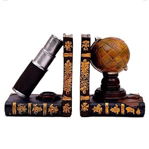 Separadores de Libros Decorativos para escritorios Ratones de Biblioteca |Tapón y Extremo de Libro de Resina |Sujetalibros de telescopio y Globo Porta Libros náuticos del viej