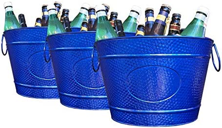 SET OF 3 BREKX Blue Beverage Tub Ice Bucket Wine Chiller for Parties Weddings Events Catering product image