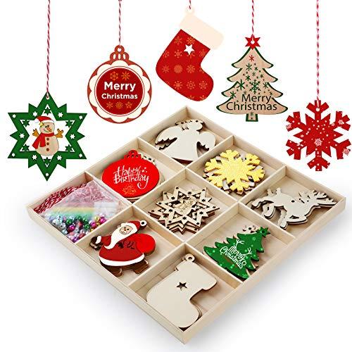 """Hianjoo Adornos Navideños Madera, 32 Rebanadas 3.0"""" Colgantes Adornos Diferentes Formas, 32 Piezas Campanas para Decoración árboles Navidad, 4 Bolígrafo para Manualidades y Fabricación Tarjetas"""