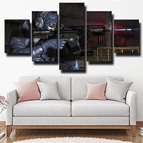 13Tdfc Cuadro En Lienzo, Imagen Impresión, Pintura Decoración, Canvas De 5 Pieza, 150X80 Cm,Call Duty Modern Warfare 2 Simon Ghost Riley Mural Moderno Decor Hogareña
