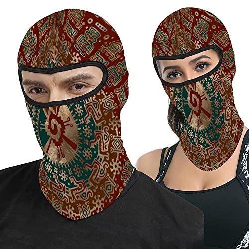 Lesif Hunab Gold Red and Teal Full Face Ma-sk Hood Headwear Breathable Balaclavas for Outside Sports Hunting Cycling Motocycling Men Women