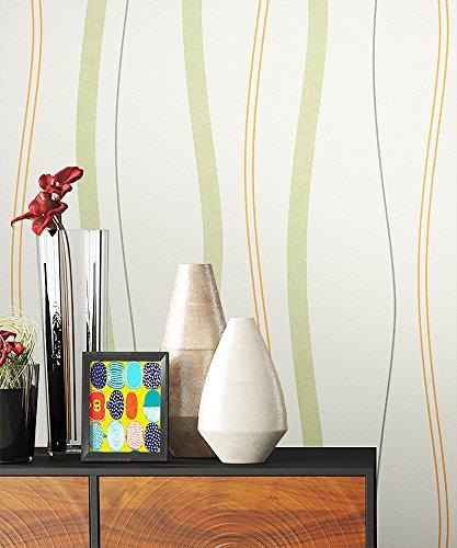 NEWROOM Blumentapete Tapete grün Streifen Linien Modern Vliestapete Vlies moderne Design Optik Streifentapete Landhaus inkl. Tapezier Ratgeber