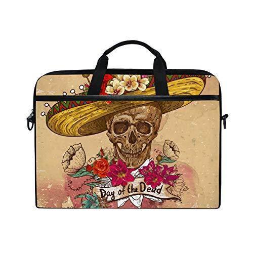 ISAOA Day of The Dead Skull in Sombrero - Bolso Bandolera para portátil de 14 a 15,6