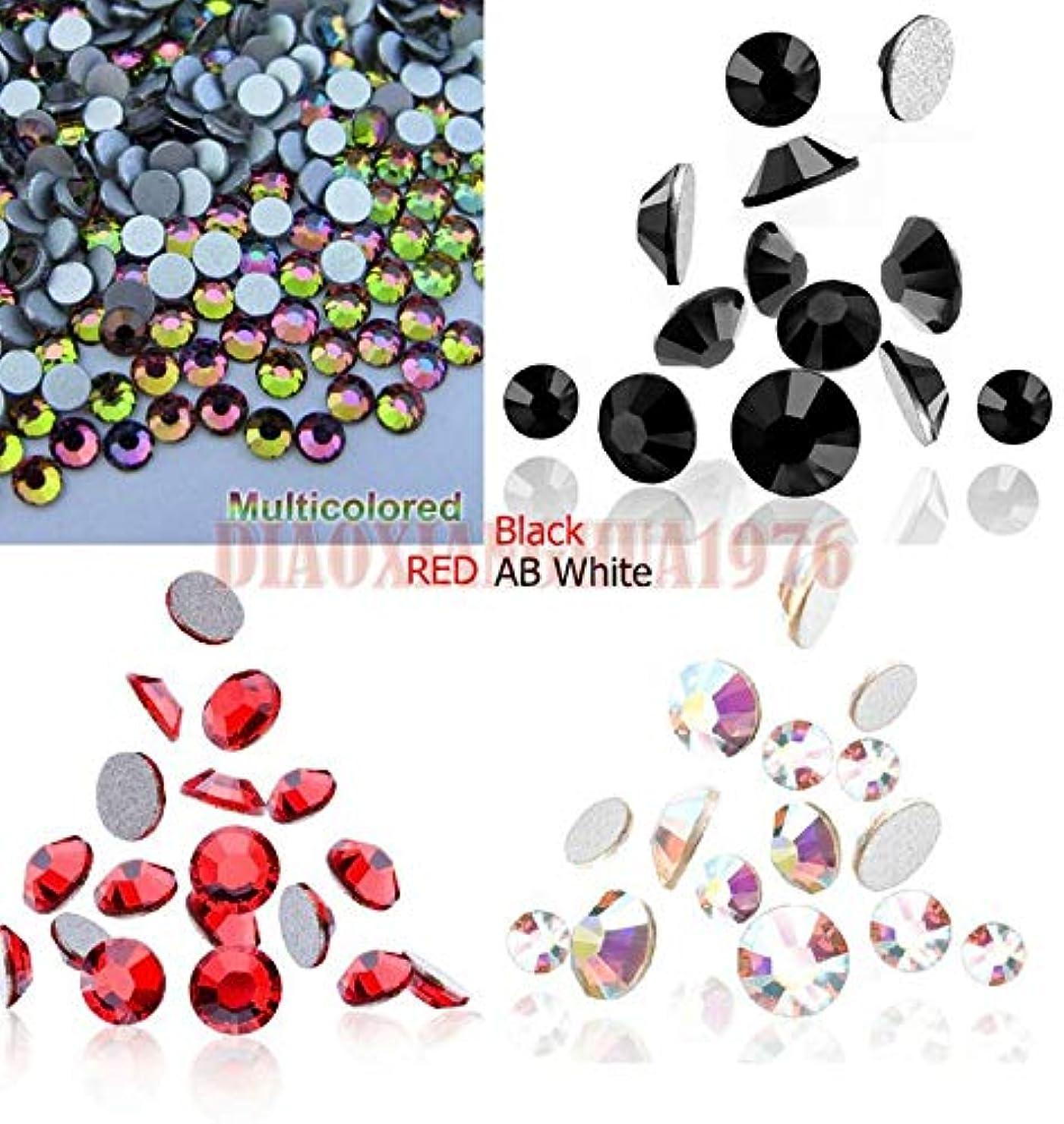 同盟乳アクティブFidgetGear 1440ピース3dアクリル直径ファセットフラットバックラインストーンネイルアートクリスタルデコレーション ブラック