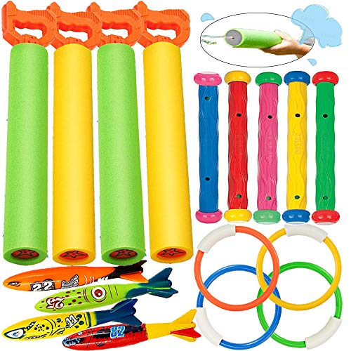 Product Image of the heytech 17 Pack Dive Pool Toys Blaster Torpedo Dive Rings and Diving Sticks Pool...