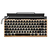 LIZENG Retro Typewriter Mechanical Keyboard - Durable Dot Retro Keyboard Punk Keycap, USB Wired & Bluetooth Wireless Keyboard, with Tablet Stand for Phone and Pad, Connection Up to 3 (Wood Grain)